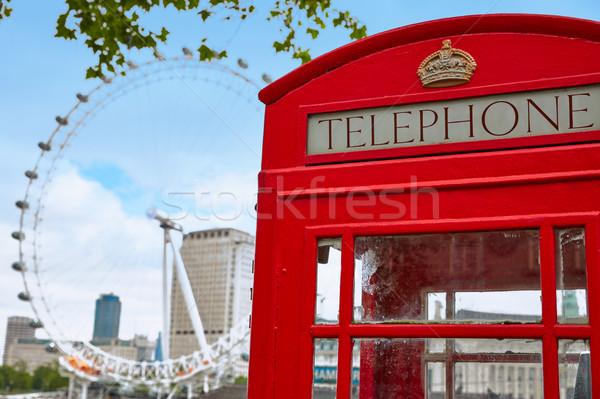 Londra vecchio rosso telefono finestra Inghilterra Foto d'archivio © lunamarina