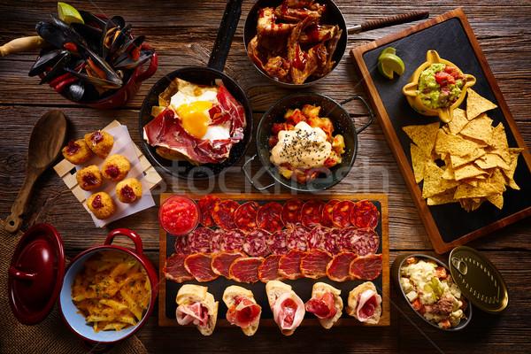 Stock fotó: Tapas · keverék · mediterrán · konyha · receptek · étterem · olajbogyó