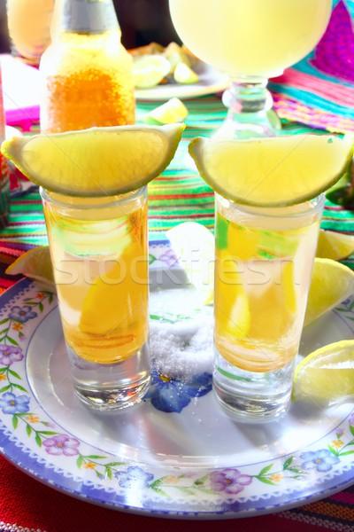 Tequila só citrom alkohol mexikói ital Stock fotó © lunamarina