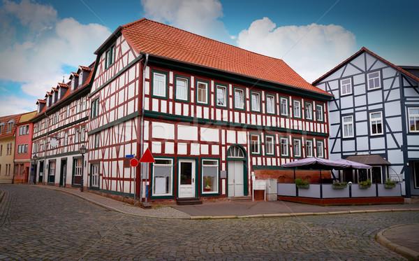 Nordhausen downtown facades in Thuringia Germany Stock photo © lunamarina