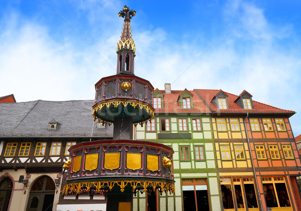 Wernigerode fountain in Harz Germany at Saxony Stock photo © lunamarina
