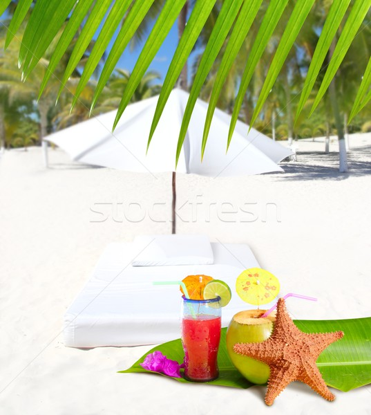 Stockfoto: Kokosnoot · cocktail · dranken · palmbomen · zeester · strand
