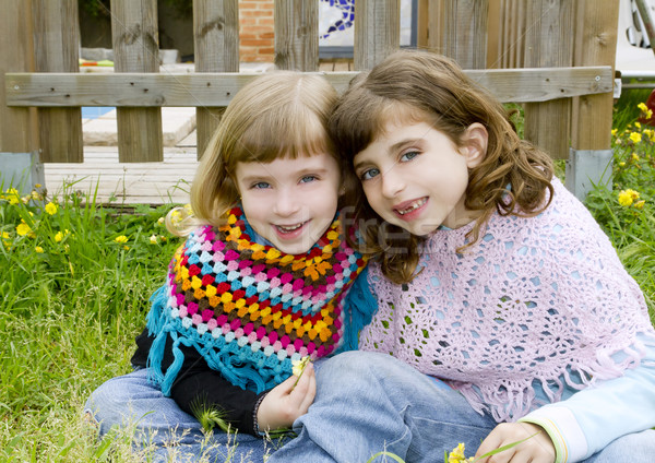 children sister girls smiling in meadow spring fence Stock photo © lunamarina