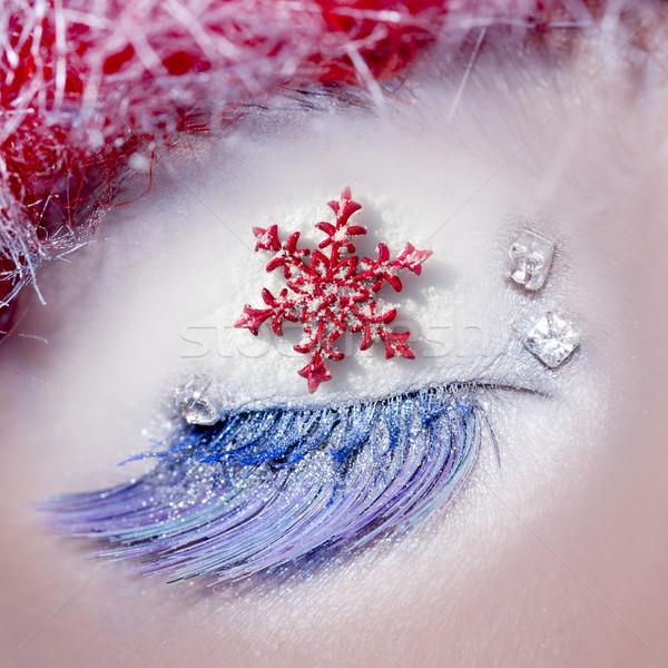 Noel star göz makyajı kış kırmızı gümüş Stok fotoğraf © lunamarina