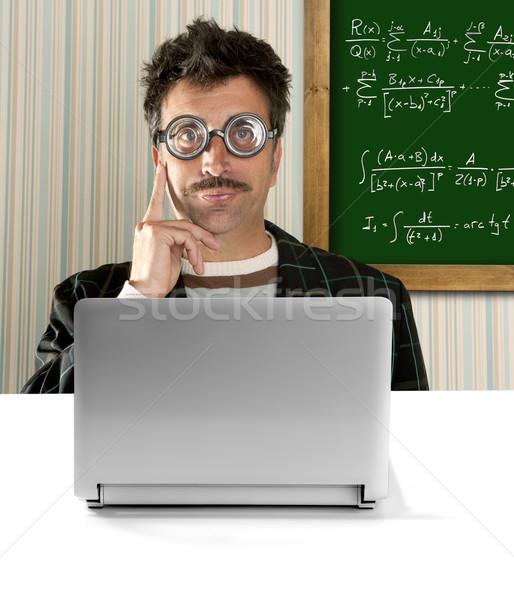 Gênio nerd óculos bobo homem conselho Foto stock © lunamarina
