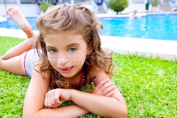Stockfoto: Kinderen · meisje · zwembad · gras · zomer · zomervakantie