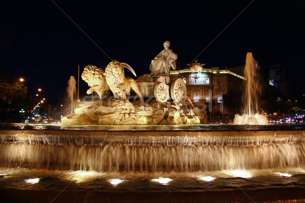 Noc posąg Madryt miasta niebieski miejskich Zdjęcia stock © lunamarina