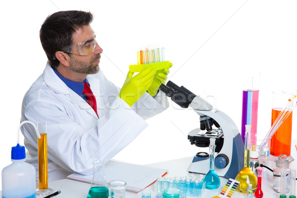 Stock photo: chemical laboratory scientist man with test tubes