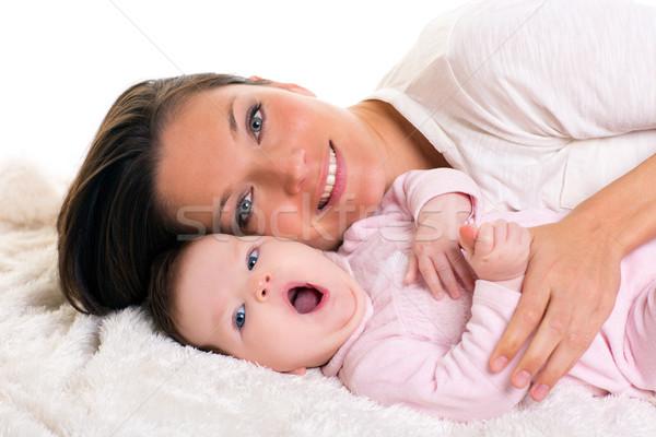 Kislány ásít nyitva száj anya törődés Stock fotó © lunamarina