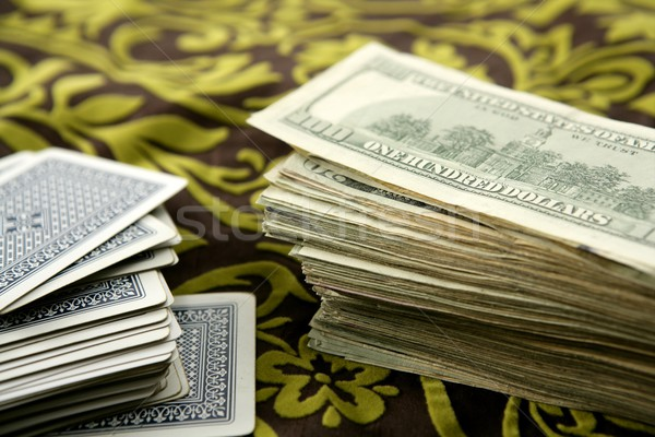 dollar notes and poker cards, gambler tools Stock photo © lunamarina
