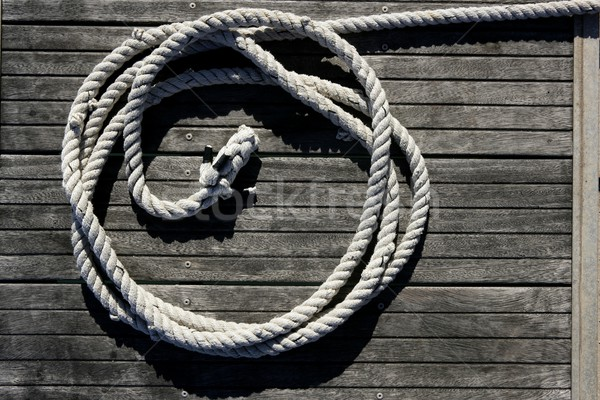 Marine round thread over dried teak wood Stock photo © lunamarina