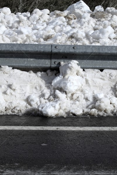 Snow on asphalt road border steel fence Stock photo © lunamarina
