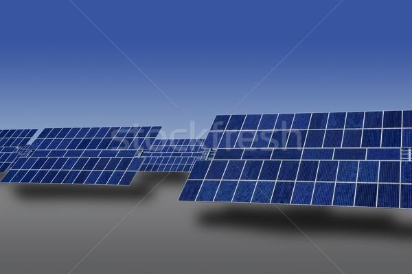 Czyste elektryczne energii słonecznej płyty Błękitne niebo Zdjęcia stock © lunamarina