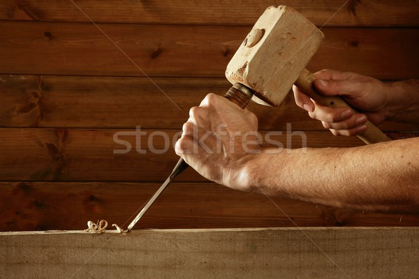 gouge wood chisel carpenter tool hammer hand Stock photo © lunamarina