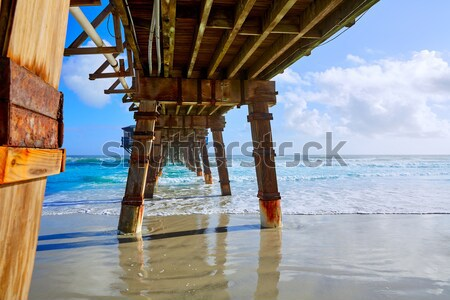 Newport pier beach in California USA from below Stock photo © lunamarina