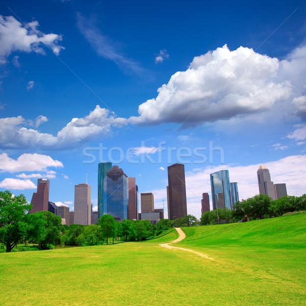 ヒューストン テキサス州 スカイライン 現代 青空 表示 ストックフォト © lunamarina