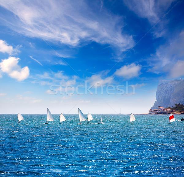 Sailboats Optimist learning to sail in Mediterranean at Denia Stock photo © lunamarina