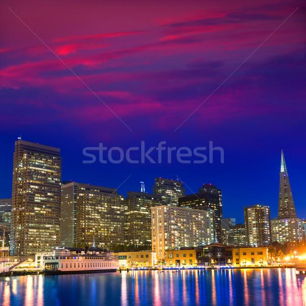 San Francisco coucher du soleil pier Californie USA ciel Photo stock © lunamarina