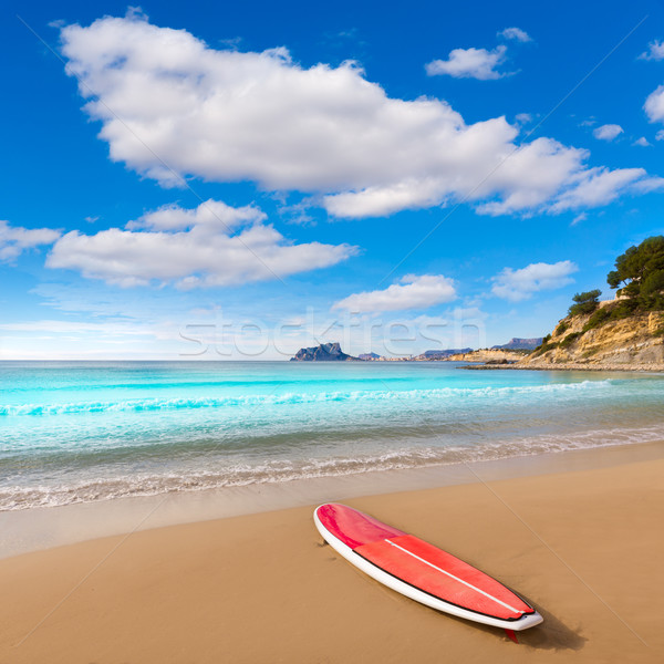 Stock photo: Moraira playa El Portet beach with paddle sufrboard at Alicante