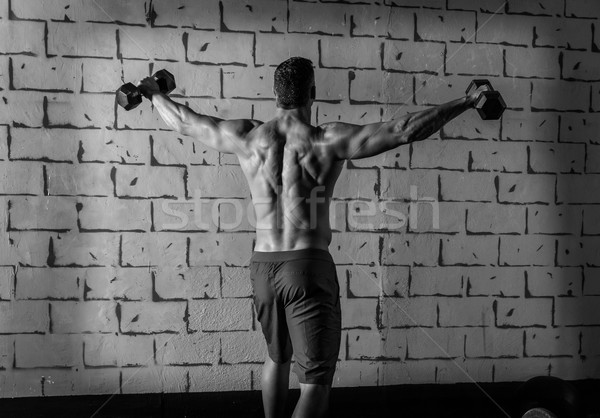 Stock photo: gym man rising hex dumbbells weightlifting rear