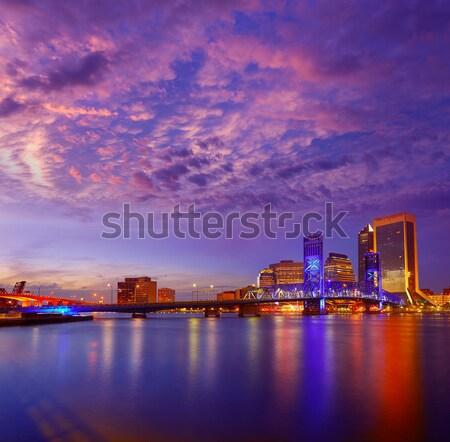 Manhattan New York sunset skyline from East Stock photo © lunamarina