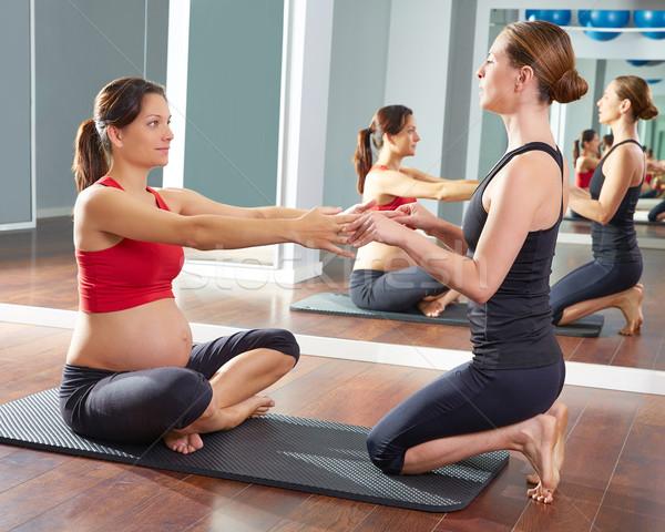 pregnant woman pilates exercise workout at gym Stock photo © lunamarina