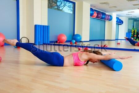 Pilates nő bumeráng testmozgás edzés tornaterem Stock fotó © lunamarina