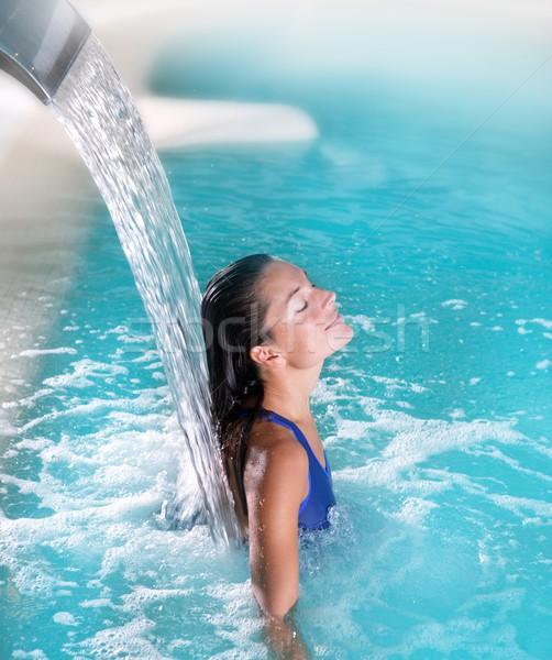 Fürdő hidroterápia nő vízesés repülőgép türkiz Stock fotó © lunamarina
