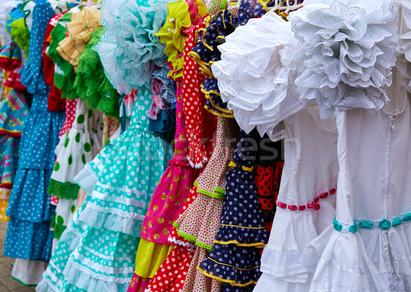 gypsy dresses in an andalusian Spain market Stock photo © lunamarina