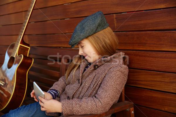 Sarışın çocuk kız oynama kış Stok fotoğraf © lunamarina