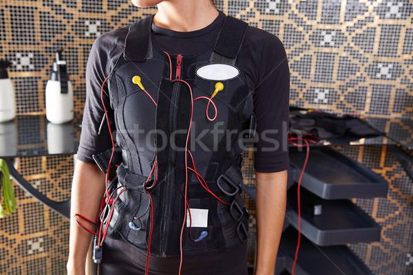 Estímulo traje mujer cables pared salud Foto stock © lunamarina