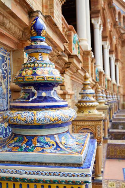 スペイン ベンチ 広場 建物 旅行 アーキテクチャ ストックフォト © lunamarina