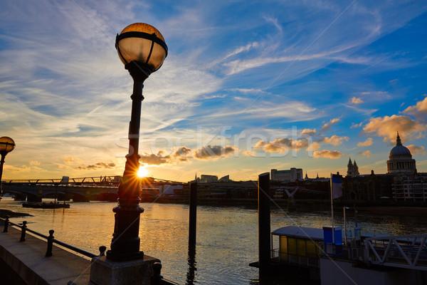 London sunset skyline with St Pauls in UK Stock photo © lunamarina