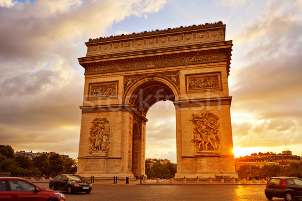 Arco do Triunfo Paris arco triunfo pôr do sol França Foto stock © lunamarina