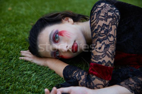 Halloween kid meisje bloedig make Stockfoto © lunamarina