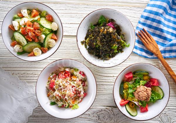 Zdjęcia stock: Cztery · Sałatka · kręgle · zdrowa · żywność · biały