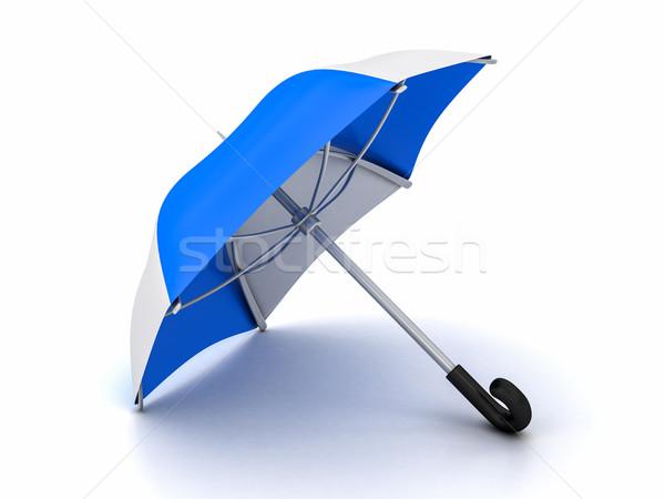 Blauw witte paraplu kleuren bescherming Stockfoto © Lupen