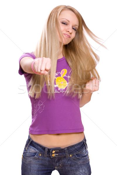 вперед белый джинсов молодые Сток-фото © Lupen