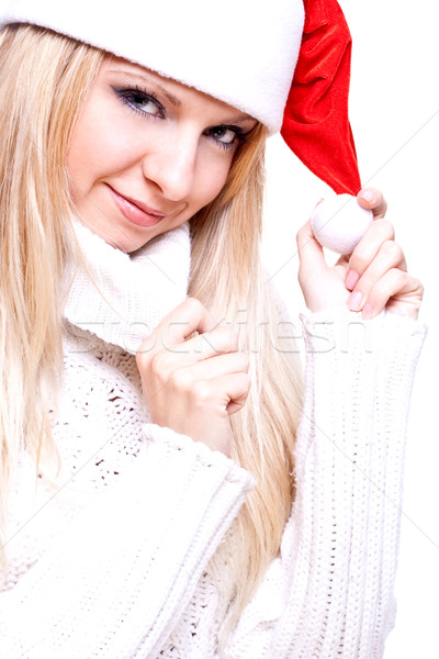 Christmas vrouw witte schoonheid vak Rood Stockfoto © Lupen