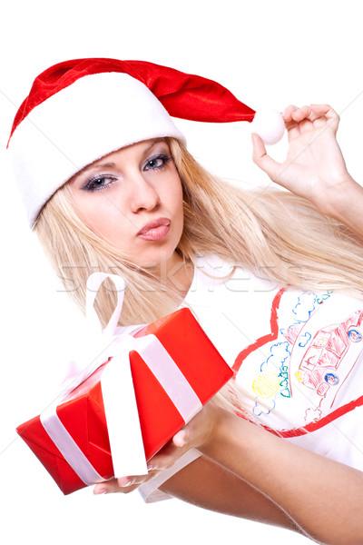 Рождества женщину праздник подарок белый красоту Сток-фото © Lupen