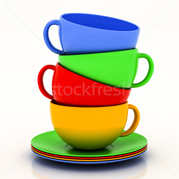 çay fincanı fincan tabağı beyaz yeşil mavi içmek Stok fotoğraf © Lupen