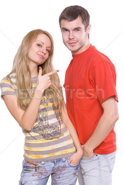 любви пару молодые счастливым улыбка человека Сток-фото © Lupen