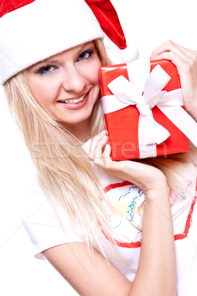 christmas woman with holiday gift Stock photo © Lupen