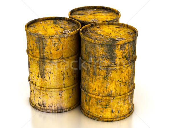 Citromsárga öreg acél kémia dob hordó Stock fotó © Lupen
