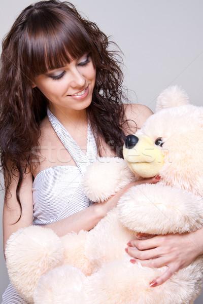 Hermosa niña osito de peluche gris mujer retrato presente Foto stock © Lupen