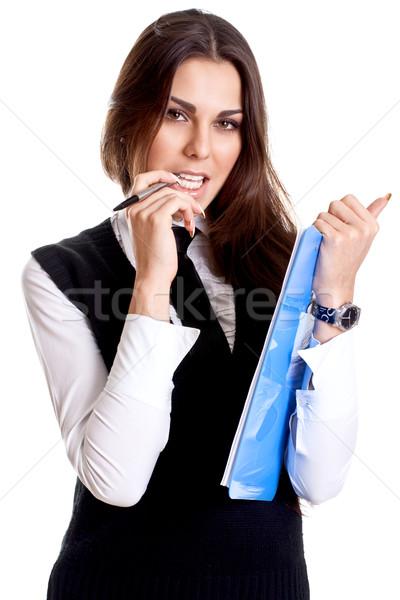 деловой женщины костюм буфер обмена белый женщину улыбка Сток-фото © Lupen