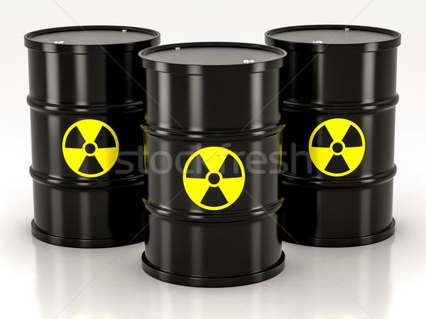Fekete radioaktív hordó fehér dob citromsárga Stock fotó © Lupen