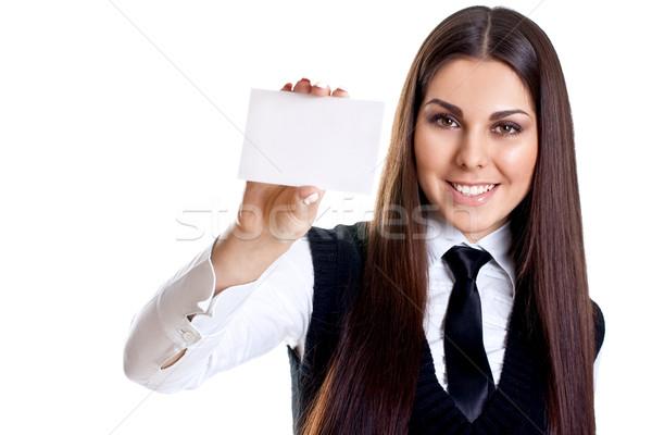 Jonge zakenvrouw visitekaartje witte business vrouw Stockfoto © Lupen