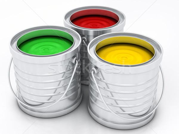 три цвета краской радуга дома металл Сток-фото © Lupen