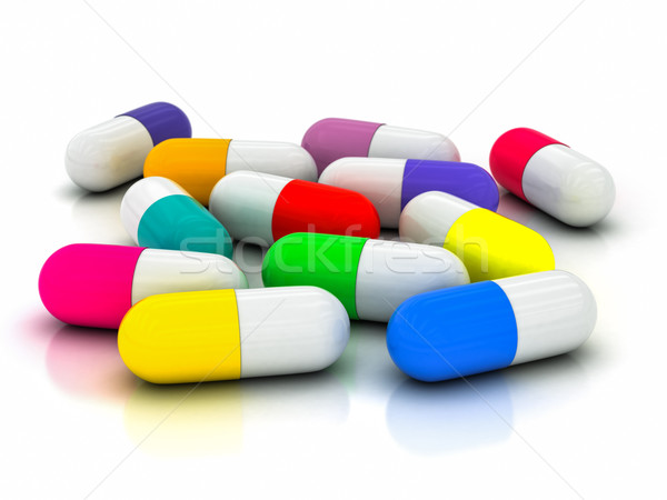 3D капсула таблетки белый здоровья синий Сток-фото © Lupen